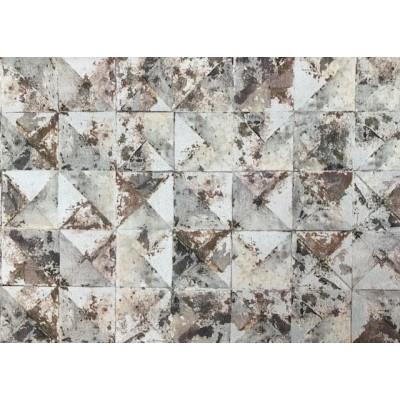 Tapeta 42501-30 trójkąty kwadraty szaro srebrne z rdzą