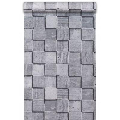 Tapeta SN3201 szare cegiełki betonowe w 3D