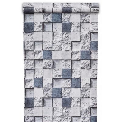Tapeta MU22176 cegiełki szaro niebieskie kostki z efektem 3D