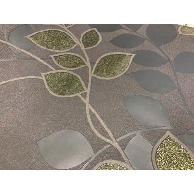 Tapeta 6590-20 liście z łodygami brokat