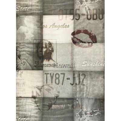 Tapeta EW2201 szary wzór jeans z napisami