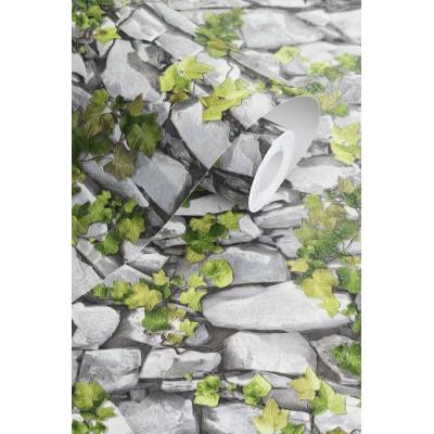 Tapeta 5695-10 kamienny mur z bluszczem z efektem 3D