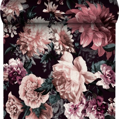 Tapeta 174601 pudrowe kwiaty liście na czarnym tle