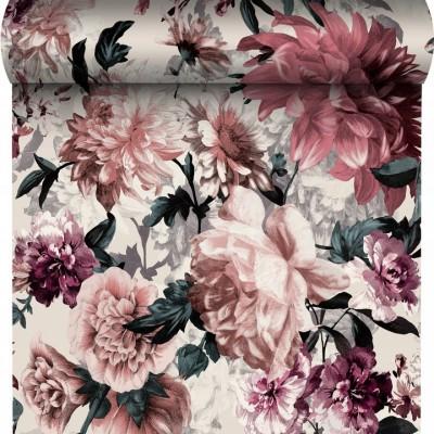 Tapeta 174602 pudrowe kwiaty liście na białym tle