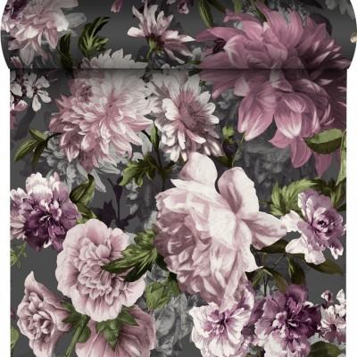 Tapeta 174603 pudrowe kwiaty liście na szarym tle