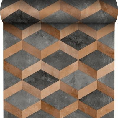 Tapeta 175001 romby figury szary beton z miedzią i efektem 3D