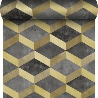 Tapeta 175002 romby figury szary beton z złotem i efektem 3D