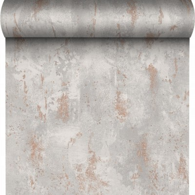 Tapeta 136513 jasno szary beton z miedzią winylowa na flizie