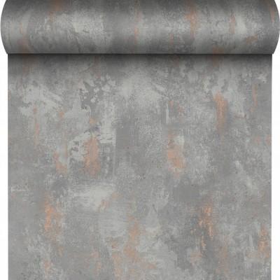 Tapeta 136514 szary beton z miedzią winylowa na flizie