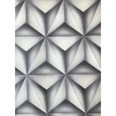 Tapeta 450403 bryły trójkąty szara połyski laser 3D