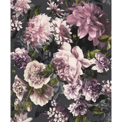 Tapeta A43002 pudrowe kwiaty na czarnym tle
